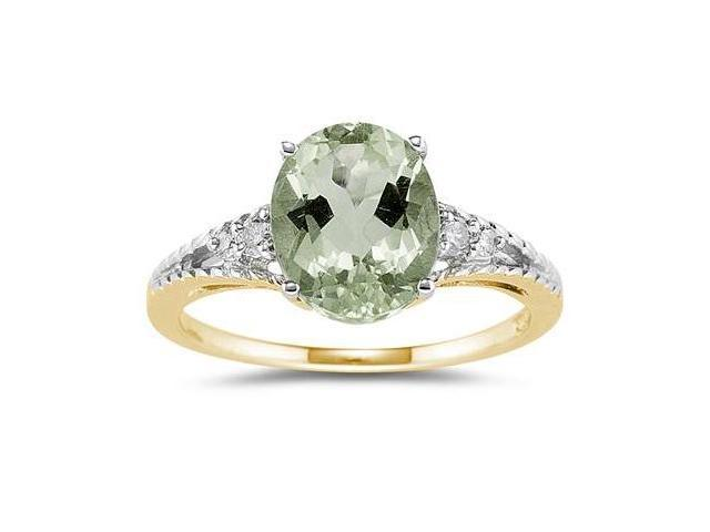 Oval Cut Green Amethyst & Diamond Ring in Yellow Gold