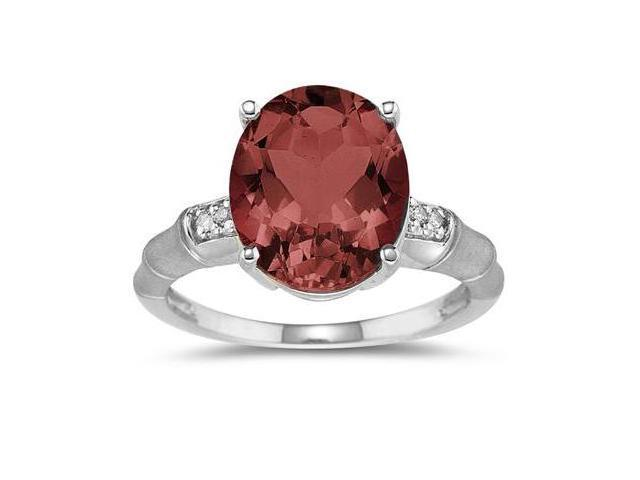 3.97 Carat Garnet and Diamond Ring in 14K White Gold