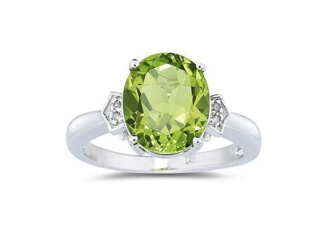Peridot & Diamond Ring in White Gold