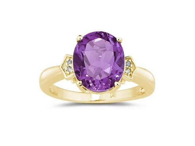 Amethyst & Diamond Ring in 10k Yellow Gold