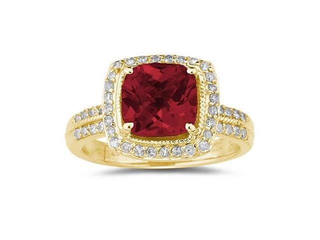 2.50 Carat Cushion Cut Garnet & Diamond Ring in 14K Yellow Gold