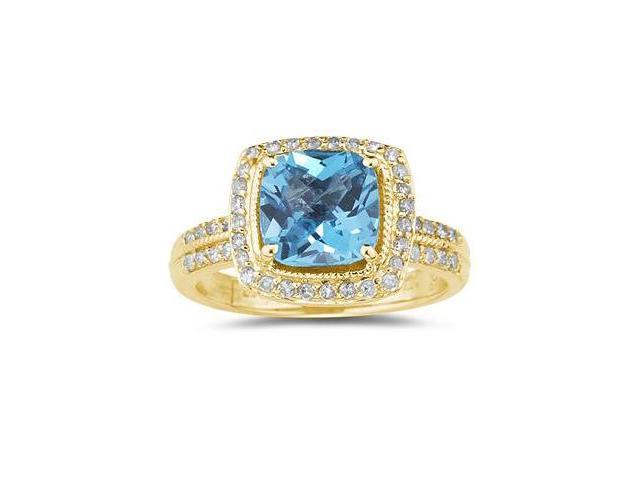 2 1/2 Carat Cushion Cut Blue Topaz & Diamond Ring in 14K Yellow Gold