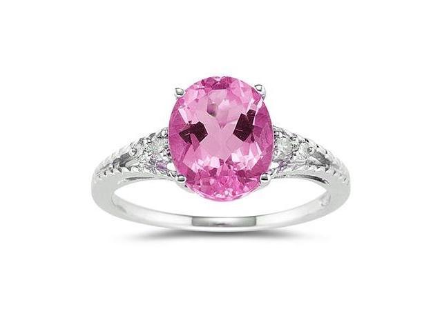 Oval Cut Pink Topaz & Diamond Ring in White Gold