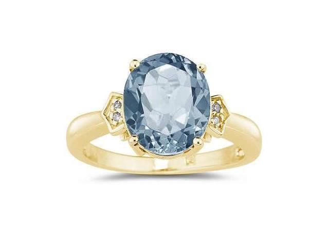 Aquamarine and Diamond Ring in 10K Yellow Gold