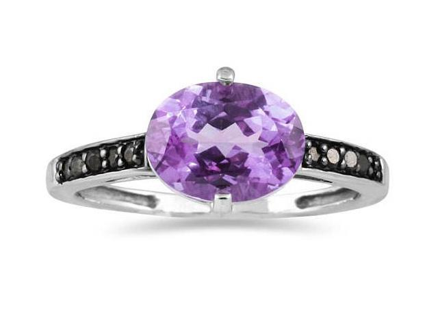 Amethyst and Black Diamond Ring in 10K White Gold