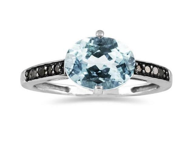 Aquamarine and Black Diamond Ring in 10K White Gold