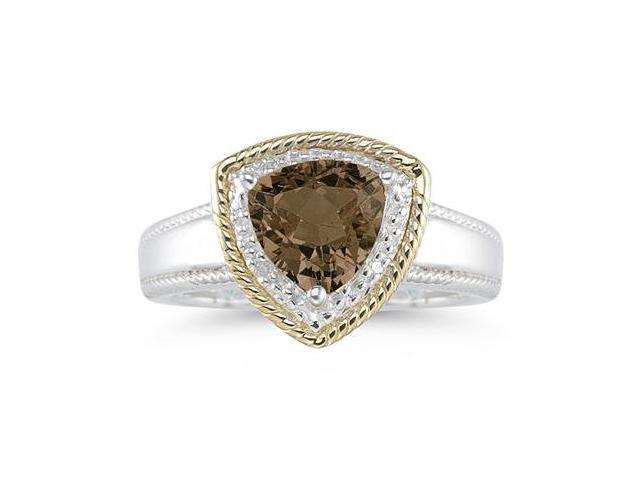 Trillion Cut Smokey Quartz and Diamond Ring in 14K Yellow Gold and Silver