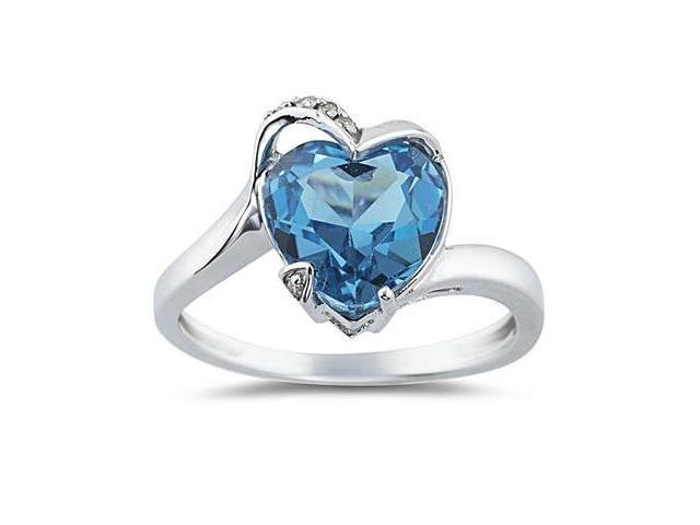 Heart Shaped Blue Topaz and Diamond Ring in 14K White Gold