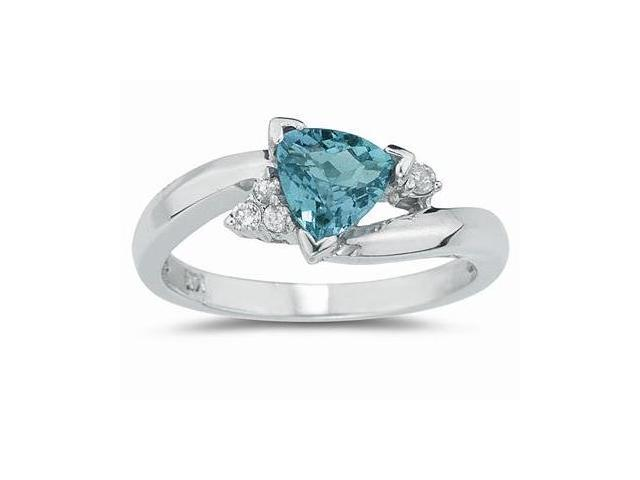 3/4 Carat Trillion Cut Aquamarine and Diamond Ring in 14K White Gold