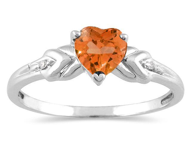 Heart Shaped Citrine and Diamond Heart Ring