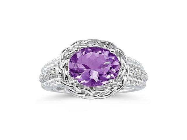 2.33 Carat Oval Shape Amethyst and Diamond Ring in 10kt White Gold