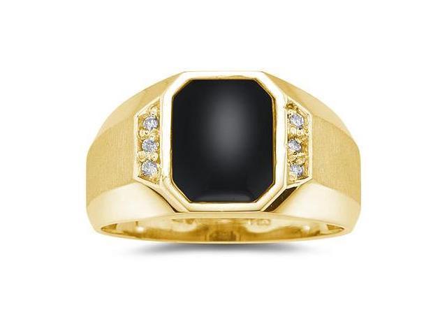 10K  Yellow Gold Onyx and Diamond Men's Ring
