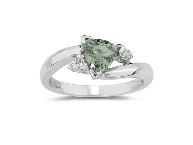 .75ct Trillion Cut Green Amethyst  and Diamond Ring in 14K White Gold