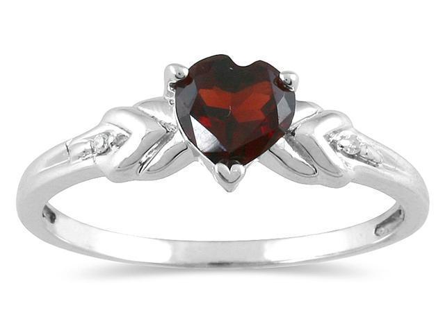 Heart Shaped Garnet and Diamond Heart Ring