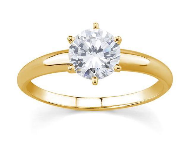 1/7 Carat Round Diamond Solitaire Ring in 14K Yellow Gold (Premium Quality)