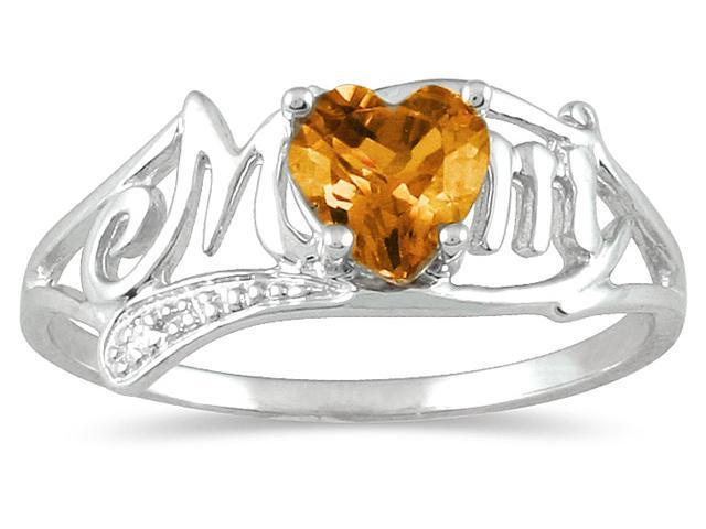 Citrine and Diamond Heart Shaped MOM Ring