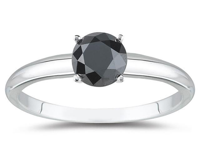 0.33 Carat Round Black Diamond Solitaire Ring in 14k White Gold