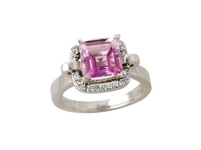 Diamond and Pink Topaz Ring in 14K White Gold