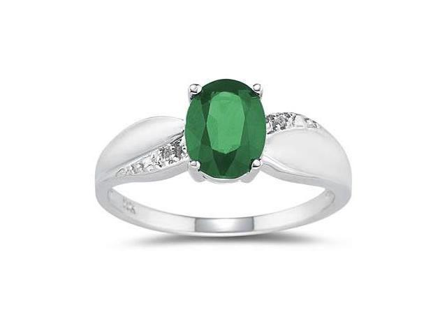 Emerald and Diamond  Ring 10k White Gold