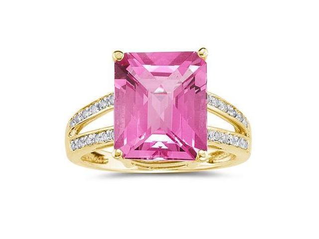 Emerald  Cut Pink  Topaz and Diamond Ring 10k Yellow  Gold