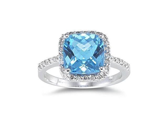 2.50 Carat Cushion Cut Blue Topaz and Diamond Ring 14K White Gold