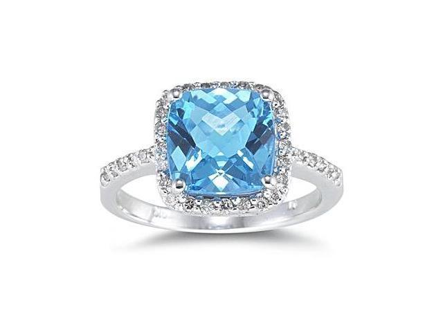2.50 Carat Cushion Cut Blue Topaz and Diamond Ring 14K White Gold