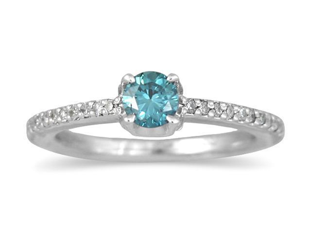 1/2 Carat Blue and White Diamond Ring in 10K White Gold