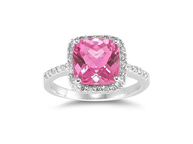 2 1/2 Carat Cushion Cut Pink Topaz and Diamond Ring 14K White Gold