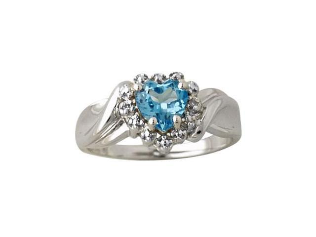Blue Topaz and Diamond Heart Ring in 10K White Gold