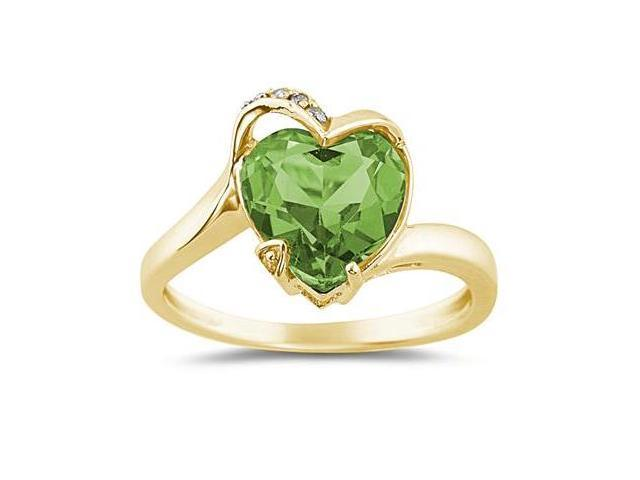 Heart Shaped Peridot and Diamond Curve Ring in 14K Yellow Gold