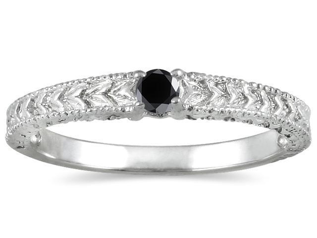 Antique Black Diamond Promise Ring in 14K White Gold Newegg