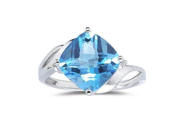 4.50CT Cushion Cut Blue Topaz & Diamond Ring in 14K White Gold