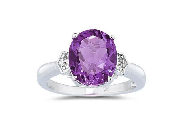 Amethyst & Diamond Ring in White Gold