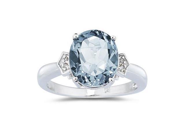 Aquamarine & Diamond Ring in White Gold