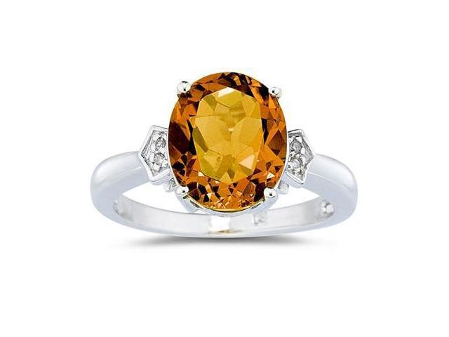 Citrine  & Diamond Ring in 10k White Gold