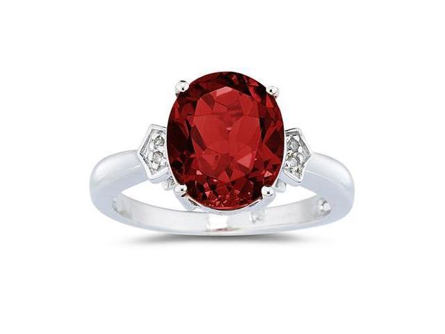 Garnet & Diamond Ring in White Gold