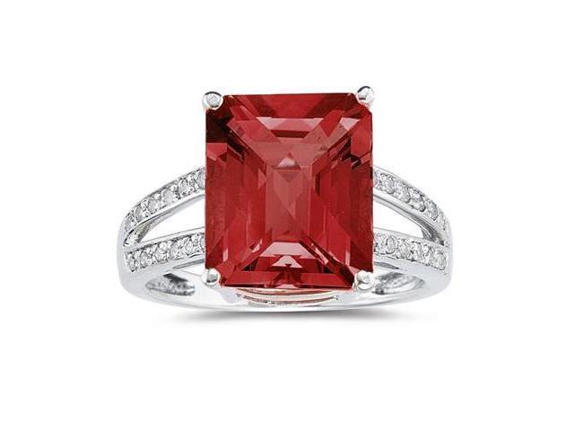 7 Carat Emerald  Cut Garnet and Diamond Ring 10k White Gold