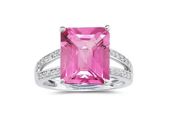 7 Carat Emerald  Cut Pink Topaz and Diamond Ring 10k White Gold