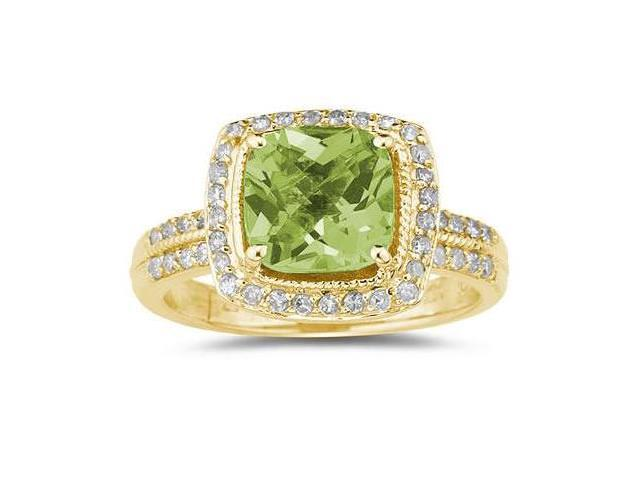 2.50 Carat Cushion Cut Peridot & Diamond Ring in 14K Yellow Gold