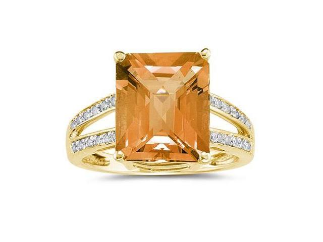 Emerald  Cut  Citrine  and Diamond Ring 10k Yellow  Gold