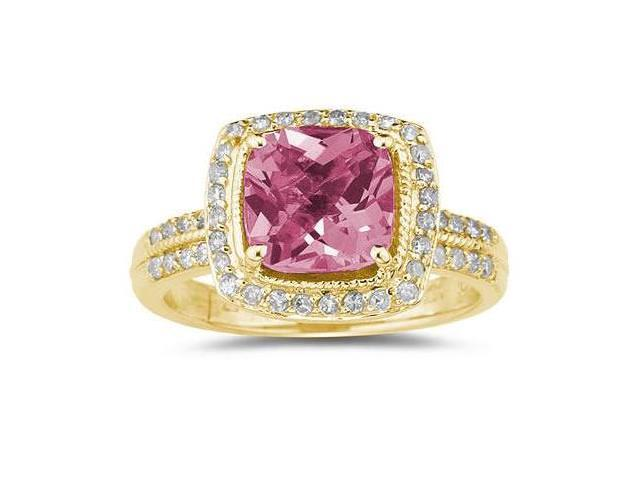 2 1/2 Carat Cushion Cut Pink Topaz & Diamond Ring in 14K Yellow Gold