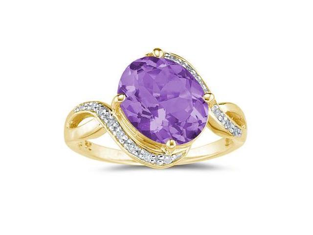 Oval Shaped  Amethyst and Diamond Curve Ring in 10K Yellow  Gold
