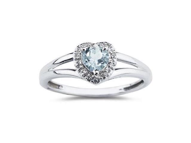 Heart Shaped Aqquamarine  and Diamond Ring