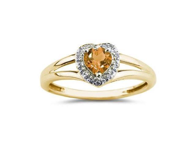 Heart Shaped Citrine and Diamond Ring