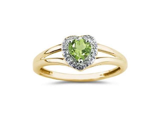 Heart Shaped  Peridot  and Diamond Ring