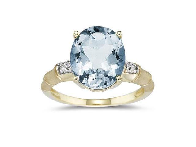 3.97 Carat Aquamarine and Diamond Ring in 14K Yellow Gold