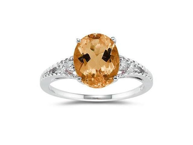 Oval Cut Citrine & Diamond Ring in White Gold