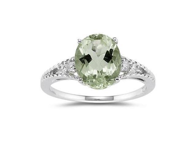 Oval Cut Green Amethyst & Diamond Ring in 14k White Gold