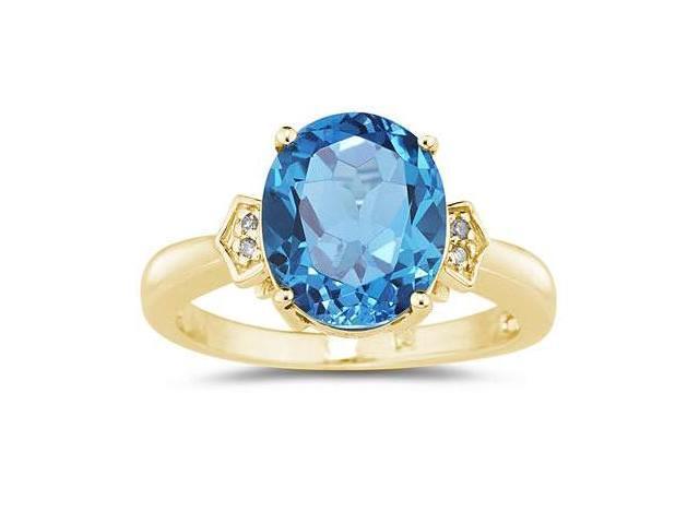 4.50 Carat Blue Topaz & Diamond Ring in Yellow Gold