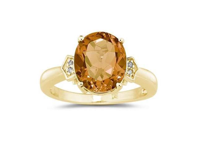 4.50 Carat  Citrine & Diamond Ring in Yellow Gold